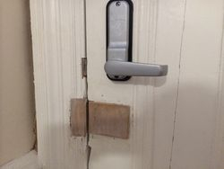 Keypad lock fitted to main door