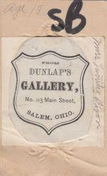 Dunlap's Gallery, Salem, Ohio - back