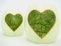 Apple Green and Olive Green Country Heart