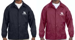 Lined Jackets, Navy Blue or Maroon.  Nylon Shell + Polyester Lining - Water Resistant - Elastic Cuffs - Snap Opening