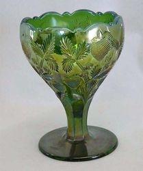 Inverted Strawberry chalice, Cambridge Glass USA, green