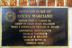 Plaque honoring Rocky