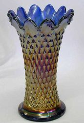 "Diamond Point 7"" squatty vase, blue"