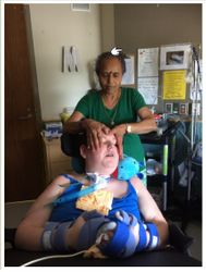 Relaxed  client while receiving treatment at care centre