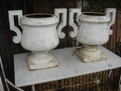 #15/273 Pr. of Cast Iron Garden Urns SOLD