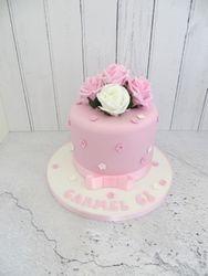 Pink and White Rose Birthday Cake