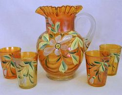 (Enameled) Magnolia and Drape 5pc. water set, marigold