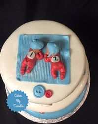 thing one and thing two baby shower cake for twins