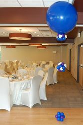 Blue 3 foot balloons with clusters and flowers