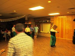 """Best man """"victim"""" of the Hawaiian Bag Dance - a favorite at our receptions!"""
