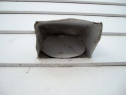 Cleaned vent on side wall