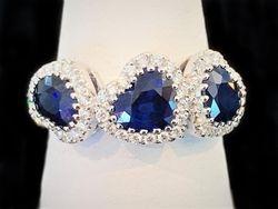 Three heart cut sapphire ring