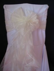 Ivory voile with ponytail.