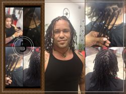InstantLoc Dread Extensions with Human hair done by Bee on Hispanic Hair texture