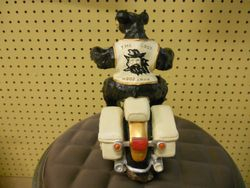 Rick Rowley Art Bear on Bike Wood Carving