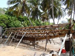 New boat being hand-built on Carriacou