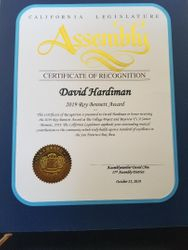 CA ASSEMBLY CERTIFICATE OF RECOGNITION, ASSEMBLYMAN DAVID CHUI