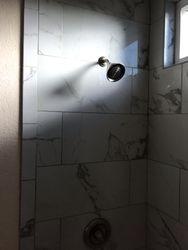 Installed shower head