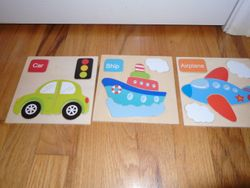 Set of 3 Wooden Puzzles: Car, Airplane, and Ship - $5