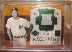 Mickey Mantle 2005 Upper Deck Hall Of Fame Game Used Jersey Card