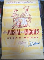 Stan Musial Signed Musial And Biggie's Steak House Menu
