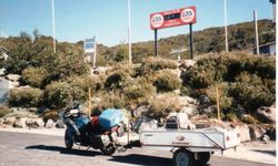 Tom's K75RT & Camper Trailer at Falls Creek Vic on the way to 1996 AGM Hobart - Feb 1996