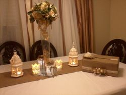 Burlap Table Runner and Lanterns