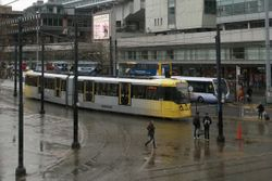 Bombardier #3063 departing Piccadilly Gardens