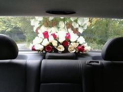 Red floral display rear