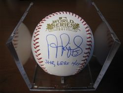 ALBERT PUJOLS SIGNED 2011 WORLD SERIES BASEBALL PUJOLS HOLOGRAM AND MLB HOLOGRAM