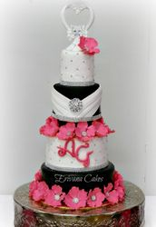 Pink, Black and White wedding cake 2