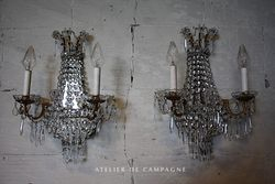 #28/059 PAIR BELGIAN WALL LIGHT FIXTURES