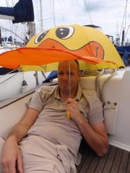 Marco with the worlds most expensive duck brolly
