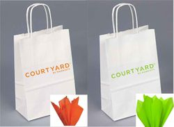 Gift Bags with Rope Handle | Orange with Orange Tissue OR Lime Green with Lime Green Tissue | NO Minimums to order!