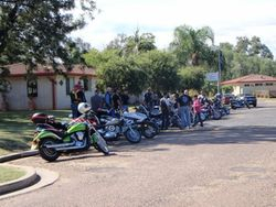 Bikes lined up at the Caravan Park