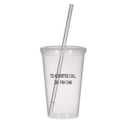 """Clear """"re-use-able"""" logo cups"""