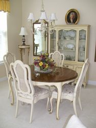 PROVINCIAL DINING ROOM SET WITH 4 CHAIRS, CHINA DISPLAY CABINET OVER CHEST OF DRAWERS
