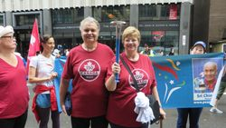 Lynda and I with peace run torch