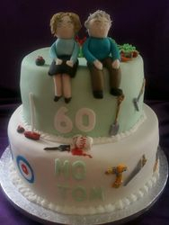 Joint 60th 2tier cake Gluten Free birthday cake