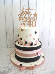 40th Birthday pink, rose gold and black cake