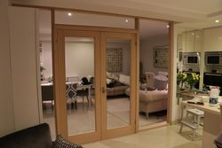 Interior wooden doors and glass panels