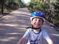 Bike Riding Along Rail Trail
