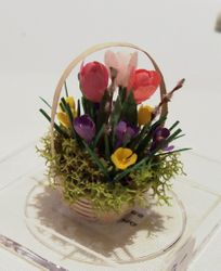 Small spring flower basket