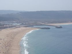 View of Nazare harbour from Sitio