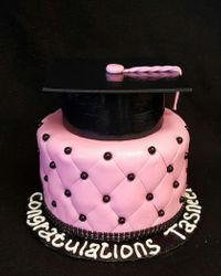 Pink and Black Grad Cake