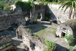 The ruins of the prison where one person survived the eruption