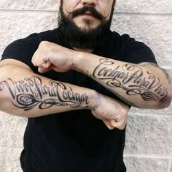 "Just Tattooed ""Live to Cook"" and ""Cook to Live"" in Spanish on the Most Amazing and Fun Chef ~ Edgar...Doesn't He have the most Epic of Mustaches???,"