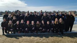 Group picture in front of dam of Lake Madawaska