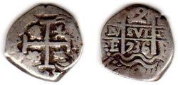 1736 Potosi, Bolivia 2 Reales Cob