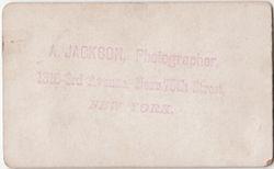 A. Jackson, photographer of New York, NY No. 2 - back